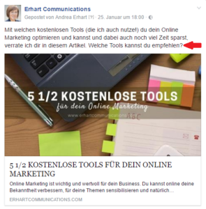 Beispiel Facebook-Post Call-to-Action